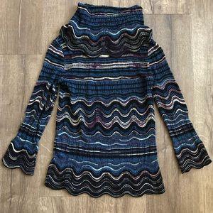 M Missoni Blue Black Metallic Knit Zig Zag Blouse
